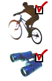 Photo of a cyclist and binoculars, where both have been 'ticked' in the manner of a checklist